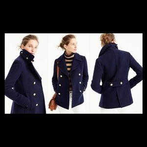 New J. Crew Majesty peacoat navy wool gold buttons